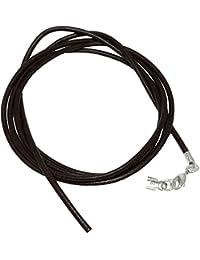 Unbespielt Joyas cordón de piel negro longitud de la cadena de 100 cm ancho 2,0 mm