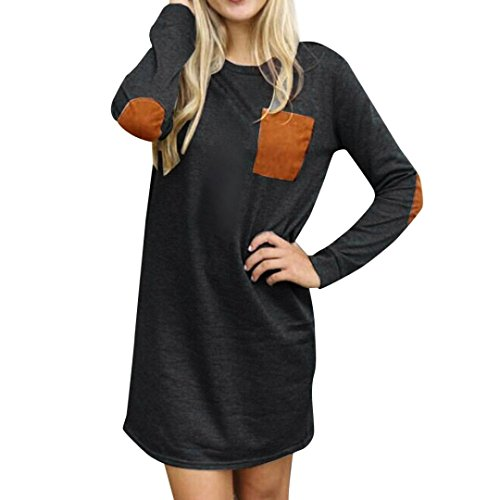 Bluestercool Robe Femmes à manches longues en coton Casual Loose Short Mini Dress Gris profond