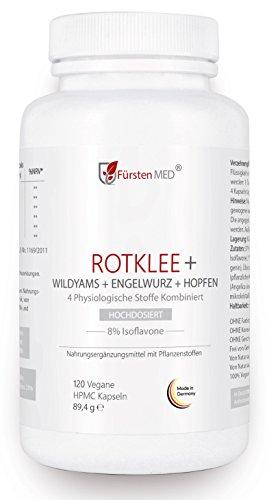 FürstenMED® Rotklee (Isoflavone) + Wild Yams (Diosgenin) + Hopfen + Dong Quai - Menopause, PMS, Brustvergrößerung