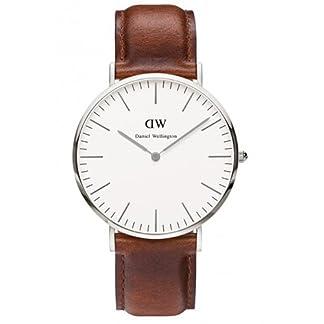 Daniel Wellington – Reloj analógico para caballero con pulsera de cuero marrón (embalaje Amazon)