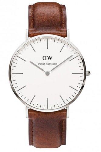 Daniel Wellington - 0207DW - St Mawes - Montre Mixte - Quartz Analogique - Cadran Argent - Bracelet Cuir Marron