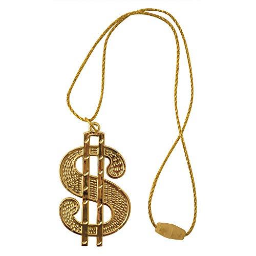 Halskette Gold Kostüm Medallion - DOLLAR Medaillon Bling Ali G Gangster 70s Rapper Zuhälter