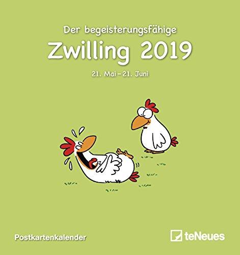 Sternzeichen Zwilling 2019 - Postkartenkalender, Sternzeichenkalender, Horoskop, Astrologie - 16 x 17 cm