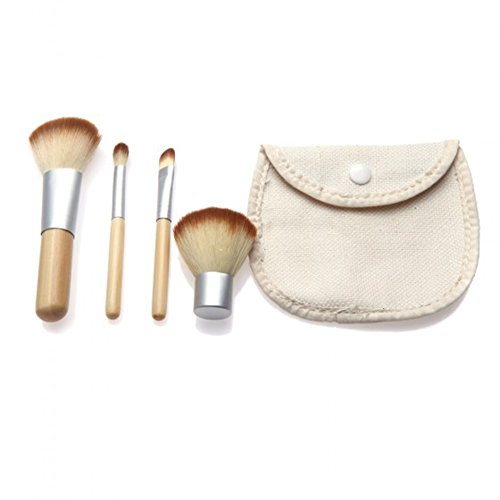 Ecloud Shop® Poignée 4pcs Bambou naturel Cosmetics Blush Maquillage Brush Set Outil