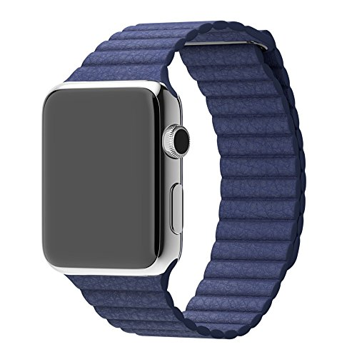 Apple Watch Banda , Transer® Banda de reloj de cuero genuino correa tipo lazo para applewatch 42mm (Azul)
