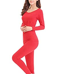 Zhhlinyuan Ladies Mujeres Winter Soft Cotton Round Neck Skinny Thermal Underwear Set Tops&Pants
