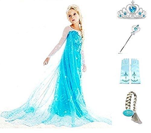 Kostüm, Karneval, Halloween komplette Elsa 4 Zubehör (Königin Kostüme Elsa Gefrorene)