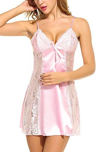 Avidlove Satin Damen Negligee Nachtkleid Nachthemd Babydoll Rückenfrei Nachtwäsche Lingerie Träger kleid Sleepwear mit Spitze Dekor