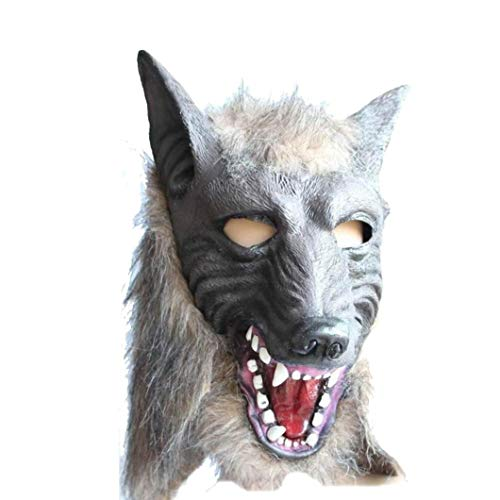 OdeJoy Halloween Wolf Head Mask Wolf Maske Latex Tier Stütze Zum Hot Sale Animal Wolf Head Mask with Hair Party Fancy Scary Dress Costume Horror Anonymous Masken (Grau, 1 PC)
