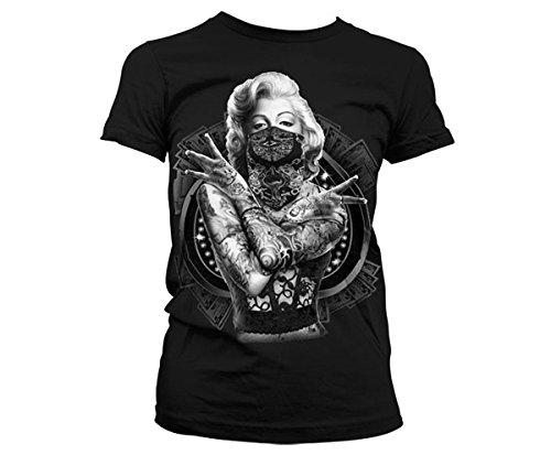Marilyn Monroe Outlaw Tattoo - Damen Girlie T-Shirt - Geschenkidee 2XL Schwarz (Marilyn Monroe T-shirts Xxl)