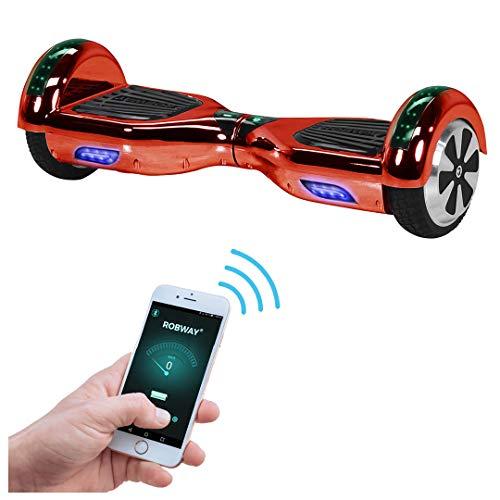 Robway W1 Hoverboard - Das Original - Samsung Marken Akku - Self Balance - 22 Farben - Bluetooth - 2 x 350 Watt Motoren - App - Led (Rot Chrom)