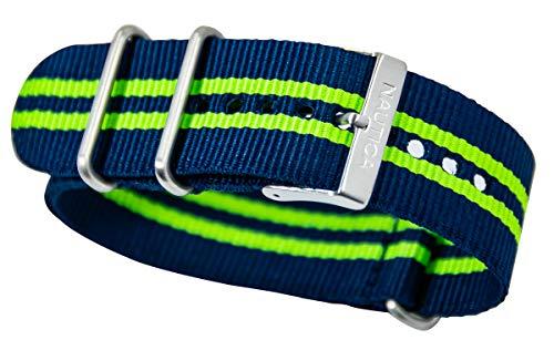 Nautica N14666G NST 17 Multifunktions-Uhrenarmband für Herren, NATO Blau – Grün gestreift Nylon Ersa