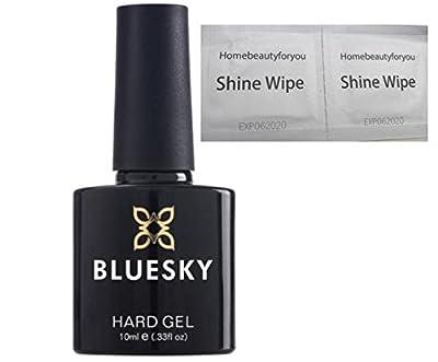 Bluesky Hard Gel Liquid Clear Builder Gel - To use With Nail Gel Polish UV LED Soak Off 10ml PLUS 2 Homebeautyforyou Shine Wipes
