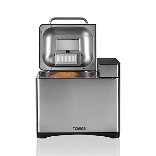 Tower T11002 Gluten Free Digital Bread Maker with Nut Dispenser Featuring 17 Different Settings, 1000 g Capacity
