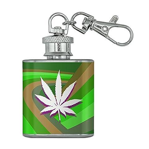 Pot de feuille de marijuana Weed psychédélique en acier inoxydable 28,3gram Mini Bouteille Porte-clés
