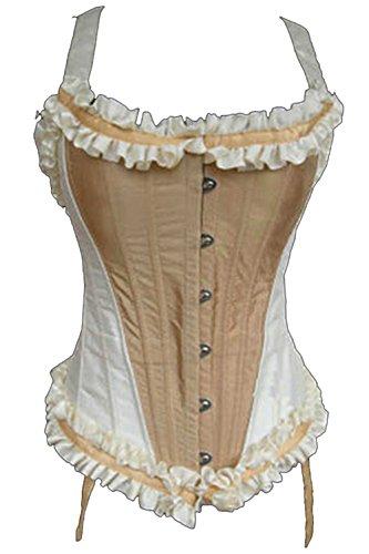 Korsett Viktorianischen Kostüme (ZAMME Frauen Brokat Overbust Korsett Schnürsenkel Stahl Boned Bustier)