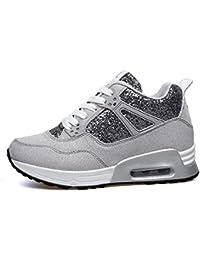 AONEGOLD Sneakers Zeppa Interna Donna Scarpe da Ginnastica Fitness Basse Tacco 7 cm