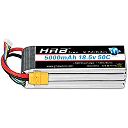 HRB RC Lipo batería 5S 18.5V 5000mAh 50-100C XT90 Conector para Mikado LOGO500 Alinear T-REX550 600 GAUI X5 Indignación 550 Hirobo SDX (XT90 Plug)