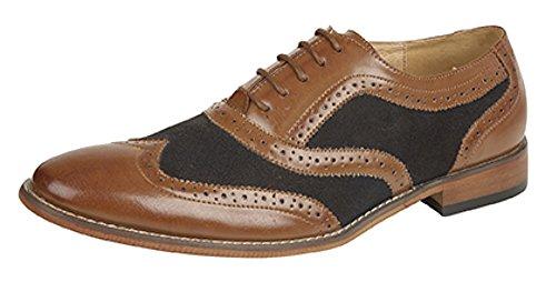 Hommes de 5Oeillet Richelieu Oxford Chaussures Marron - Tan/Black