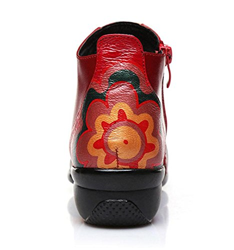 SHIXR Chaussures de vent femmes chaussures de sport fond mou National Place Seasons maman chaussures de jazz moderne marin rouge