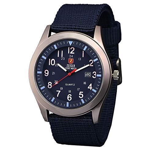Zeiger Reloj unisex cuarzo – Date Fluorescence Agujas – Army azul Canvas Nylon pulsera … (Azul)