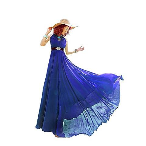 Years Calm - Robe - Dos nu - Sans Manche - Femme - bleu - Taille Unique