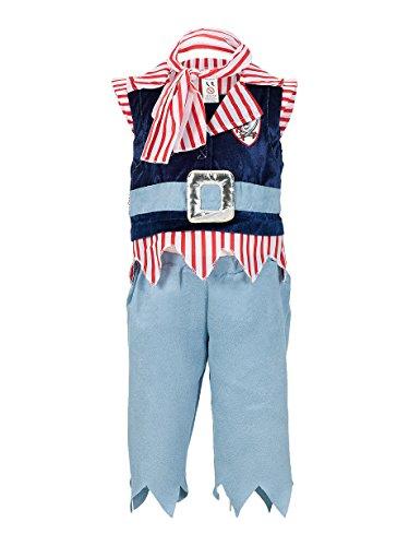 22–Mack Set Pirat Kostüm für Kinder–Blau/Rot/Weiß (Jungen Entdecker Kostüm)