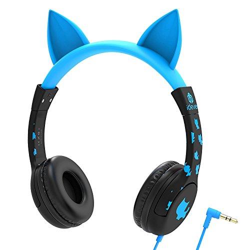 Auriculares para niños, auriculares inspirados en el gato iClever para niños, auriculares con cable en la oreja con un volumen de 85dB, cable Jack de audio, buenos para regalos de Navidad