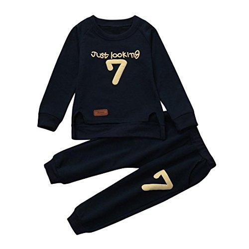 Kobay Kleinkind 2pcs Baby Mädchen kleidet Buchstaben Druck einstellen Oberteile + Hosen Outfits (100 / 2Jahr, Marine)
