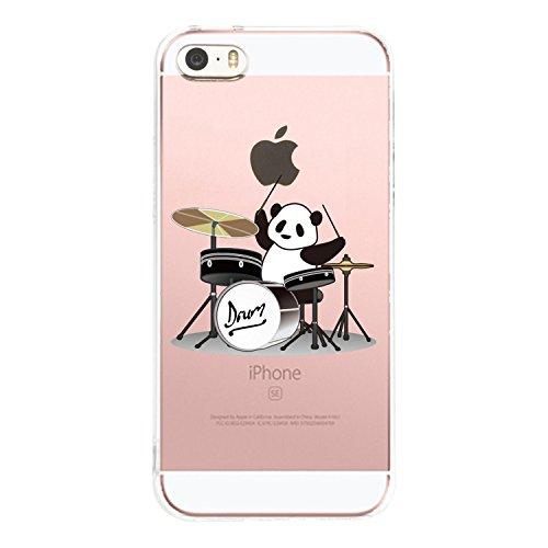 AIsoar iPhone SE Fall, iPhone 55S Fall Crystal Clear Slim Weiche TPU Schutzhülle Rutschfest Flexibel stoßfest Bumper Cute Animal Cover Schutz für Apple iPhone 5/5S/SE Panda Playing Music Cute Apple