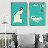 PLDZSH Triptychon Moderne Niedliche Cartoon Weißer Eisbär Angeln Und Drachen Poster Home Wand...