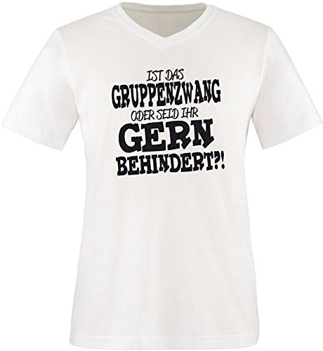 EZYshirt® Ist das Gruppenzwang oder seid ihr gern behindert Herren V-Neck T-Shirt Weiss/Schwarz