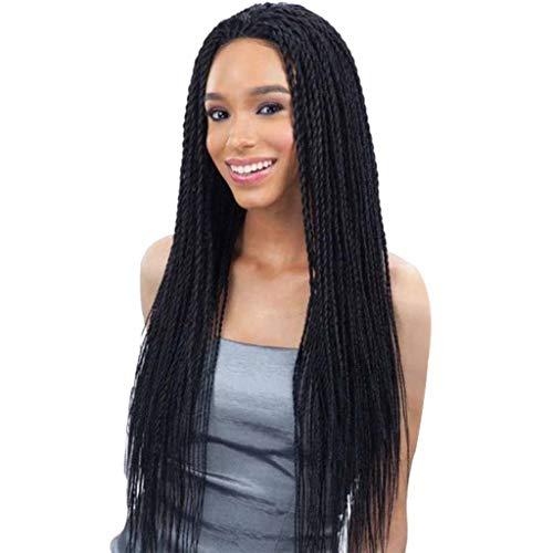liche lange geflochtene Perücke für schwarze Frauen, handgefertigte hitzebeständige Faserperücken für Frauen mit Spitze vorne, volle Perücke ()
