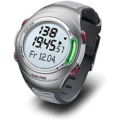 Beurer PM70 - Pulsómetro con fijación para bicicleta, calendario, conexión PC, color plata