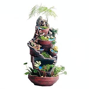 Plantas creativas Olla bricolaje planta suculenta maceta decorada con mini jardín de hadas colgando recipiente de bricolaje y dulce casa Contenedor de flores ( Color : Pots , tamaño : 24*24*51cm )