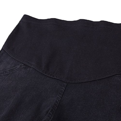 Laixing Elastic Waist Maternity Jeans Pants Pregnancy Clothes for Maternity Trousers 016 Black