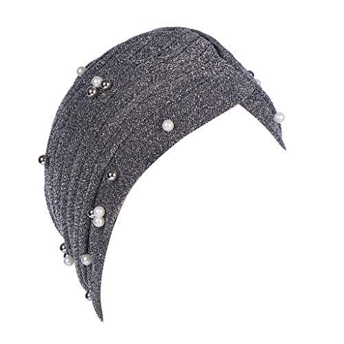 Watopi Frauen String Pearl Indian Hat Muslim gekräuselten Make-up Beanie Turban Wrap...