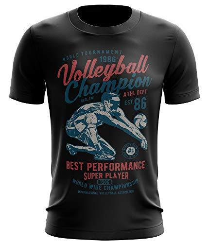 Stylotex Fitness T-Shirt Herren Sport Shirt Volleyball Champion Gym Tshirts für Performance beim Training | Männer Kurzarm | Funktionelle Sport Bekleidung, Größe:L, Farbe:schwarz -