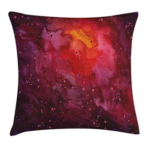 tyui7 Dekokissen Kissenbezug Kosmos-Milchstraße-Galaxie-abstraktes Stardust im Aquarell-Design Pillow Case 45x45 cm Lavendel-Orangen-Senf -