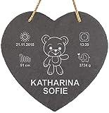 LAUBLUST Schiefer-Herz personalisiert mit Teddybär Gravur - 25x25cm, Anthrazit - Dekorative Schiefertafel mit Halteseil als Erinnerungstafel | Geburtsgeschenk | Wand-Schild | Geschenkidee zur Taufe