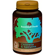 Rainforest Foods Organic Combined Chlorella and Spirulina Tablets 500mg Pack of 300