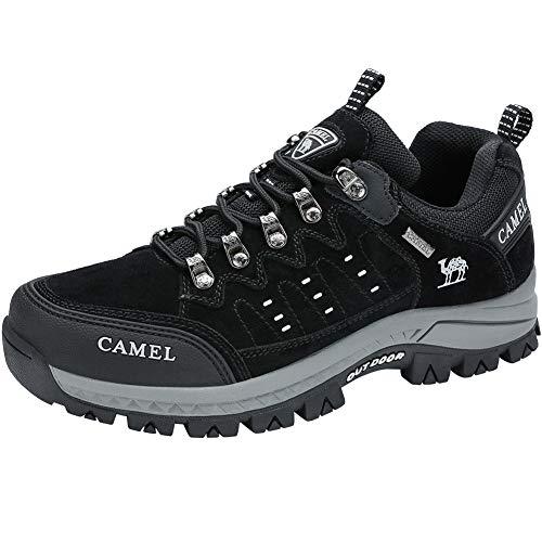 CAMEL CROWN Wanderschuhe Herren Damen, Low Top Trekkingschuhe Anti-Rutsch Walkingschuhe Sneaker für Outdoor Klettern Angeln Tagestouren (40 EU, Schwarzgrau)