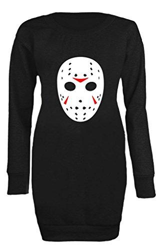 ull Monster Mask Scary Halloween High Quality Printed Log sleeve Jumper UK 8-22 (UK 12-14) Black (Halloween-schädel-schablonen)
