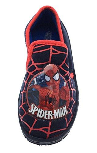 Kinder/Jungen Hausschuhe - d. ultim. Spiderman - Klettverschluss Schwarz