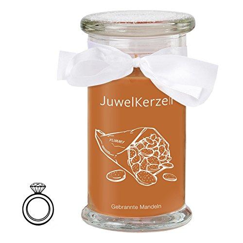 Mandel-glas (JuwelKerze Gebrannte Mandeln - Kerze im Glas mit Schmuck - Große braune Duftkerze mit Überraschung als Geschenk für Sie (925 Sterling Silber Ring, Brenndauer: 90-120 Stunden)(M))