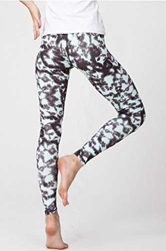 Anguang Femme Respirant Imprimé Fitness Yoga Legging Taille Élastique Sport Course Jogging Collants Style1