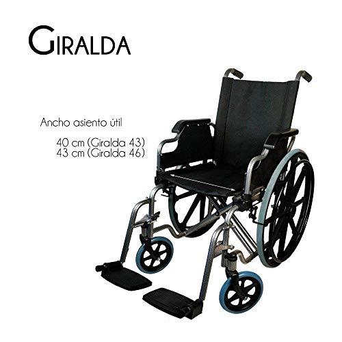 41h WEp zkL - Silla de ruedas | Plegable | Ruedas grandes | Ortopédica | Reposabrazos abatibles | Negro | Giralda | Mobiclinic