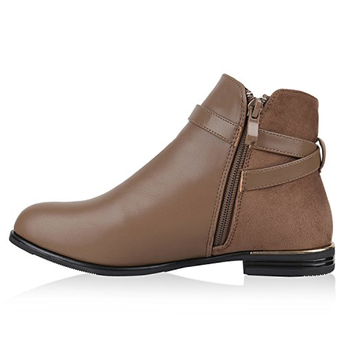 Ankle Boots Damen Schnallen Metallic Lederoptik Stiefeletten Khaki Khaki