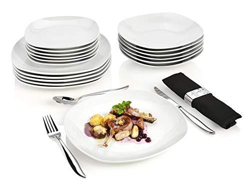 Sänger Tafelservice Bilgola - 18 teiliges Geschirr-Service für 6 Personen, weißes Teller-Set aus Porzellan mit Servierteller, Suppenteller und Dessertteller, eckige Teller mit elegantem Design