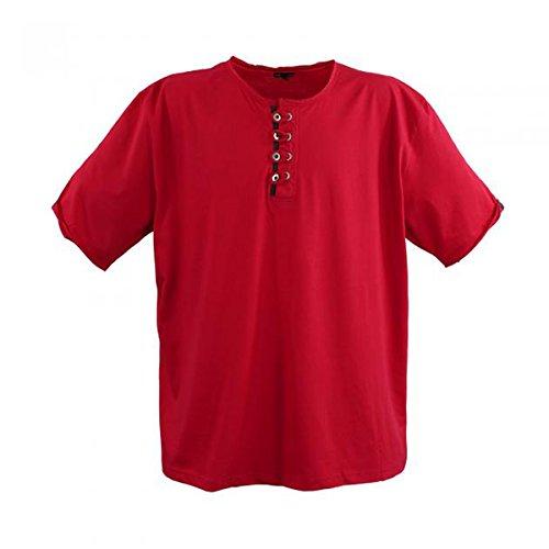Kurzarm Herren T-Shirt in Übergröße mit aufwendiger Knopfleiste von 3XL bis 8XL Rot